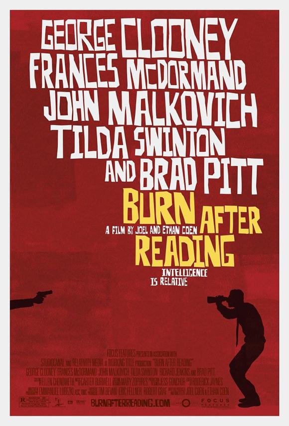 Affiche du film Burn After Reading. Inspirée par Saul Bass.